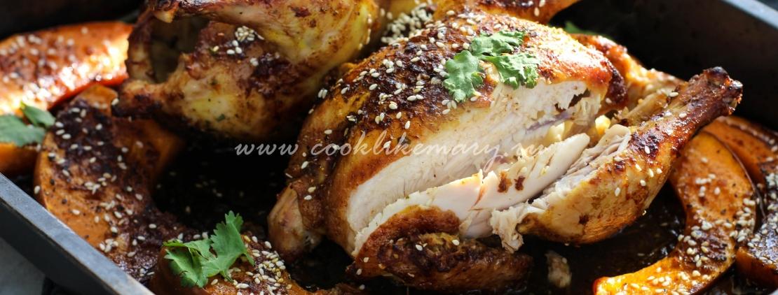Курица запеченная с тыквой в духовке