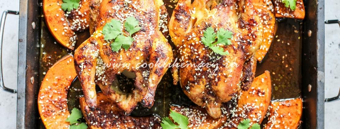 Приготовление тыквы с курицей в духовке
