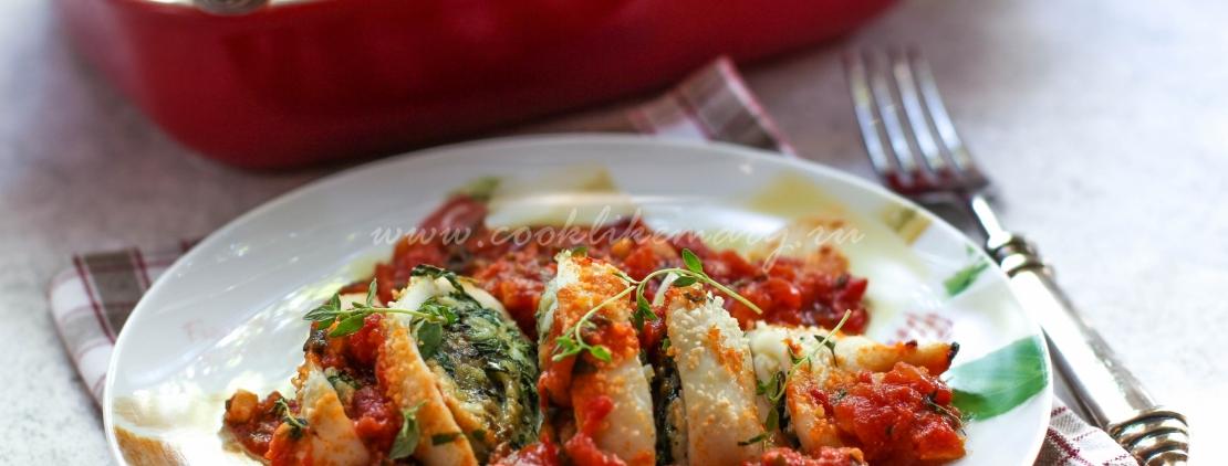 Фаршированные кальмары в томатном соусе