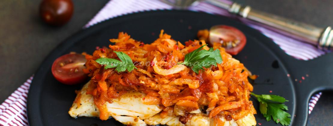 Филе трески под маринадом с морковью