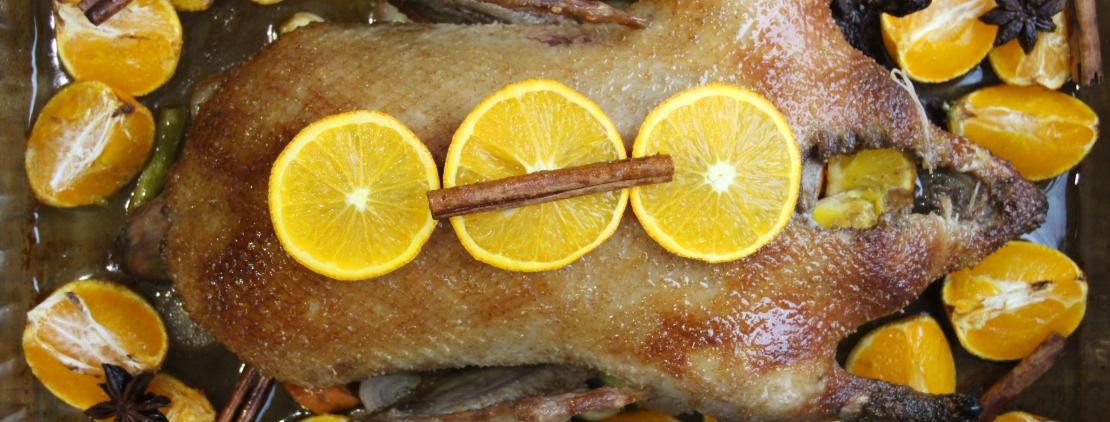 утка с мандаринами в духовке