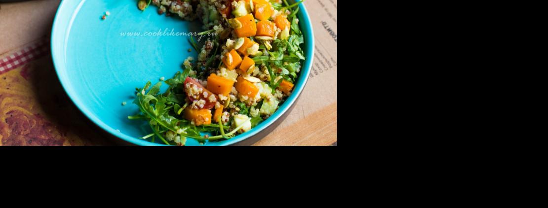 Салат с киноа и печёной тыквой