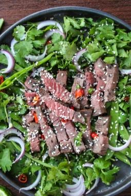 Салат тайский с говядиной рецепт с фото (Nam tok)