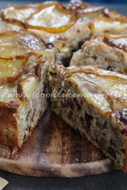 Рецепт пирога с грушами, орехами и шоколадом
