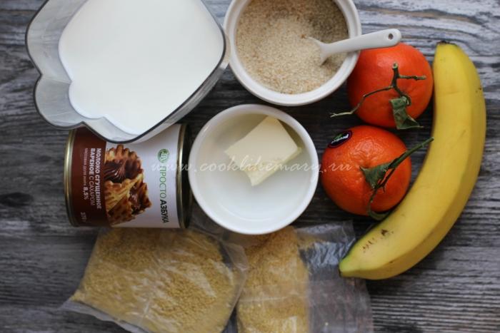 Ингредиенты для сладкой пшенной каши на молоке