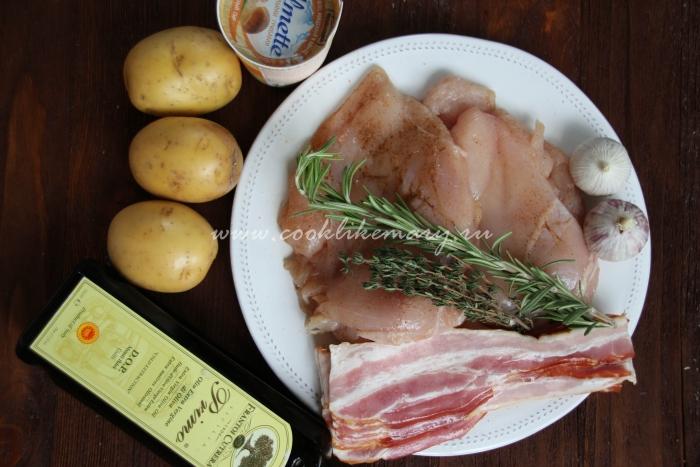Ингредиенты для рулетов из куриной грудки с творожным сыром и беконом