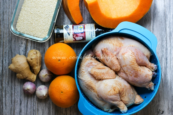 Ингредиенты по рецепту тыквы с курицей запеченной в духовке