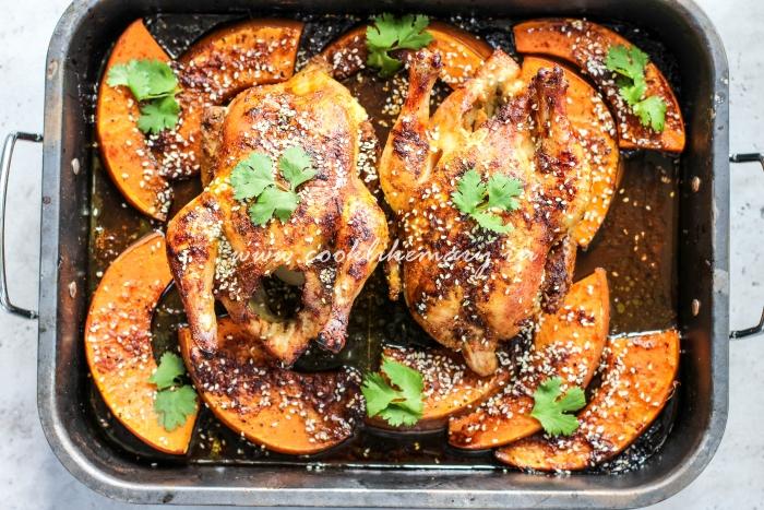 Тыква и курица в апельсиновом маринаде в духовке