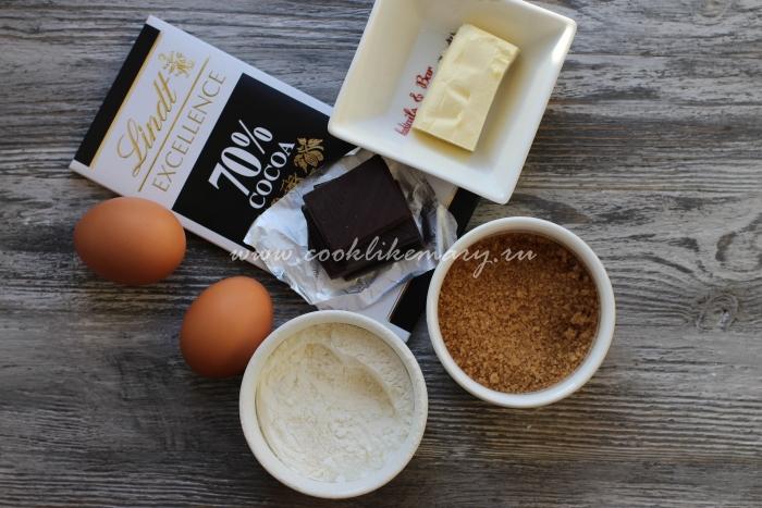Ингредиенты по рецепту шоколадного фондана в домашних условиях