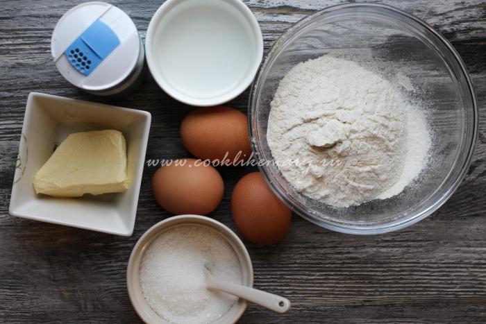 Ингредиенты для заварных пирожных с творожным кремом