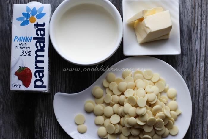 Ингредиенты по рецепту глазури из белого шоколада
