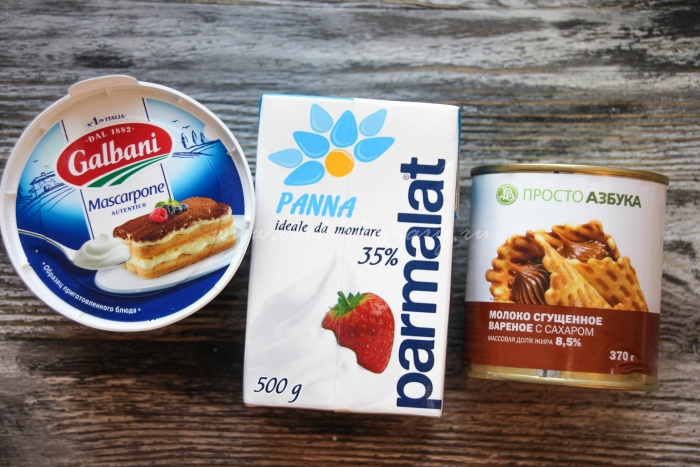 Ингредиенты для крема из маскарпоне для торта-безе