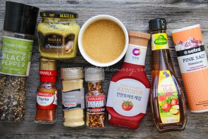 Ингредиенты для приготовления соуса барбекю в домашних условиях