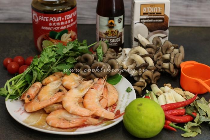 Ингредиенты для супа на курином бульоне с креветками Tom Yum Kung