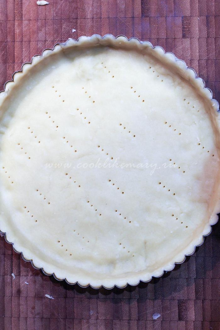 Тесто для несладкого пирога с сыром и грушей в форме