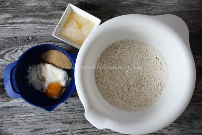 Ингредиенты для бездрожжевого теста для пирога с ягодами
