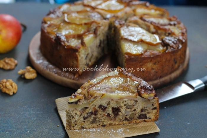 Приготовление пирога с грушами