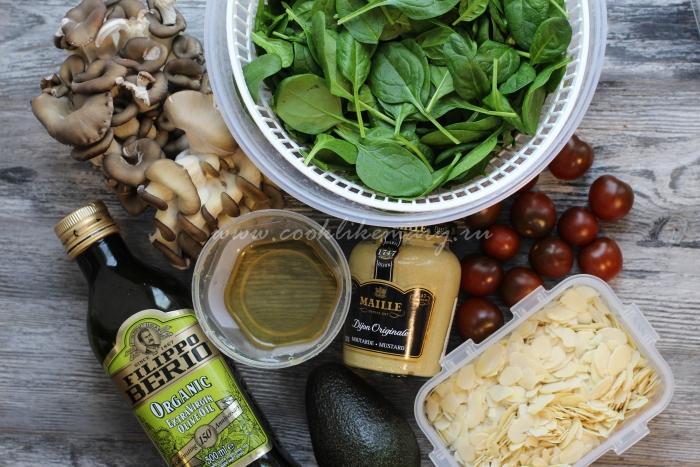 Фото ингредиентов для салата с авокадо и грибами