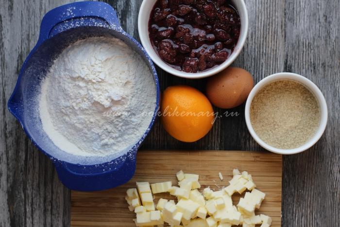 Ингредиенты для песочного пирога с начинкой из варенья