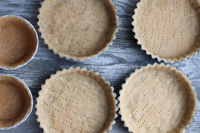 Песочное тесто для французского открытого пирога в формочке