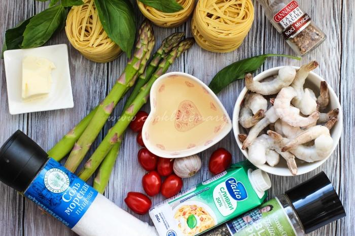 Ингредиенты по рецепту пасты феттучини с креветками в сливочно-винном соусе