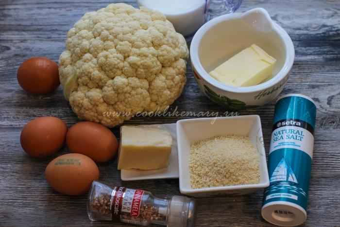 Ингредиенты для запеканки из цветной капусты