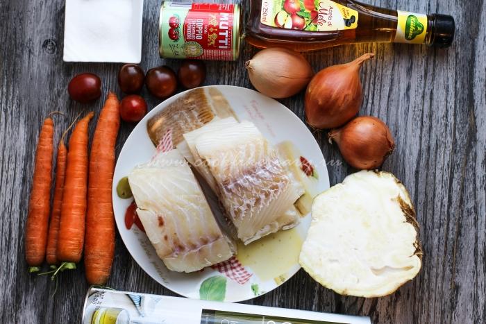 Ингредиенты для запеченного филе трески с овощами