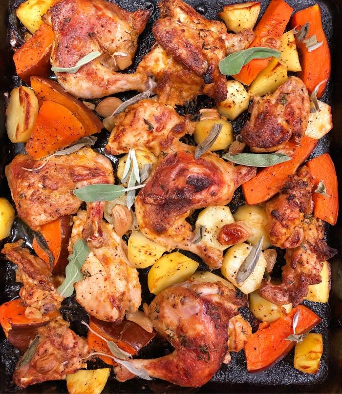Вкусная курица с овощами