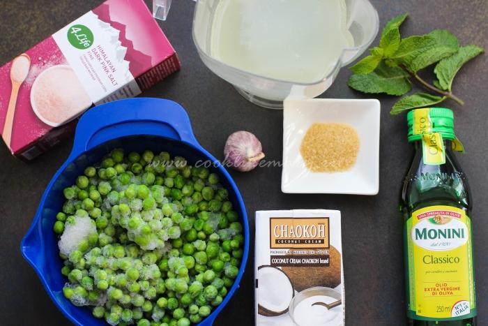 Ингредиенты для легкого супа из зеленого горошка