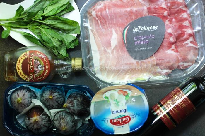 Ингредиенты для салата с инжиром, бурратой и пармской ветчиной