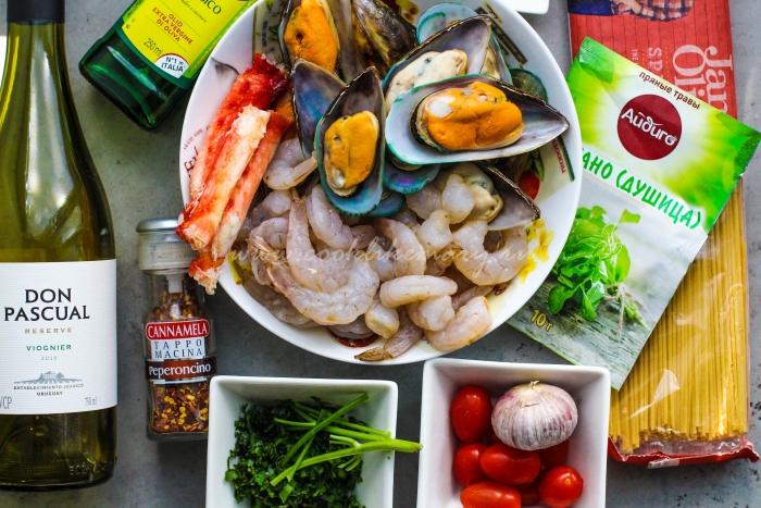 Ингредиенты для пасты с морепродуктами