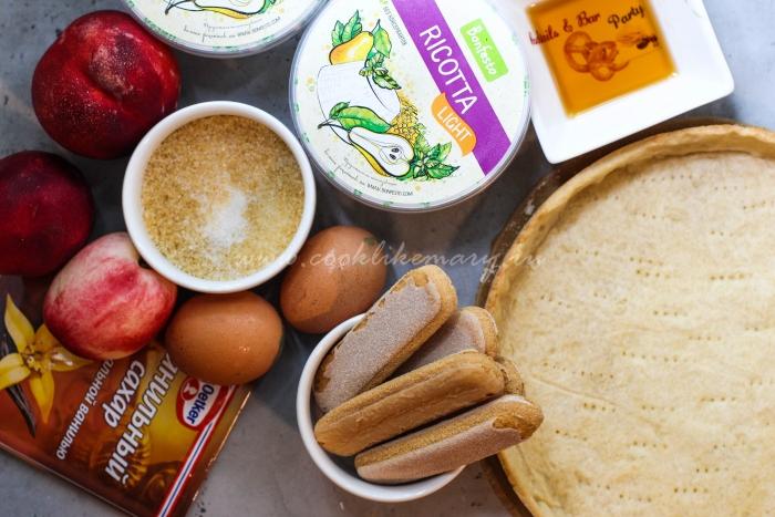 Ингредиенты для песочного пирога с нектаринами