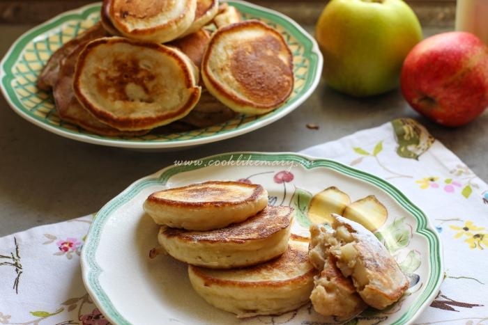 Вкусные, самые пышные оладьи с яблоком и корицей