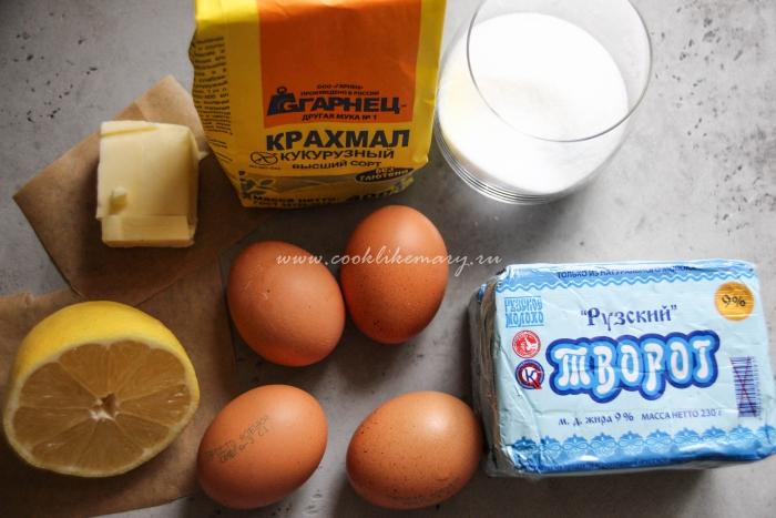 Ингредиенты для творожного тарта