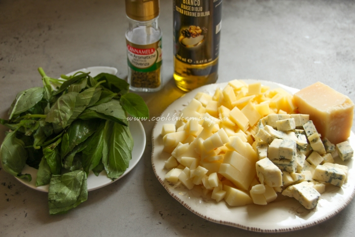 Ингредиенты для пиццы 4 сыра