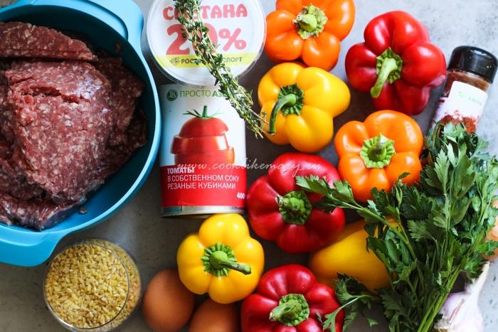 Ингредиенты для фаршированных перцев с булгуром