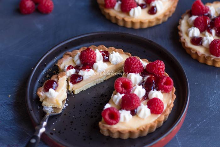 Тарталетки с ванильным кремом и ягодами