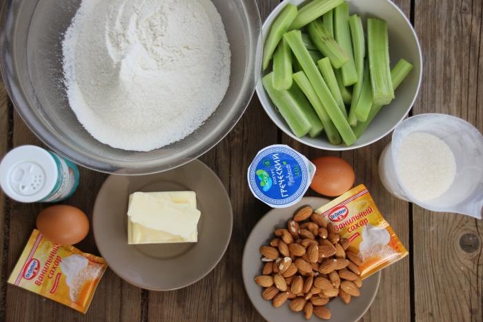 Ингредиенты по рецепту пирога с ревенем