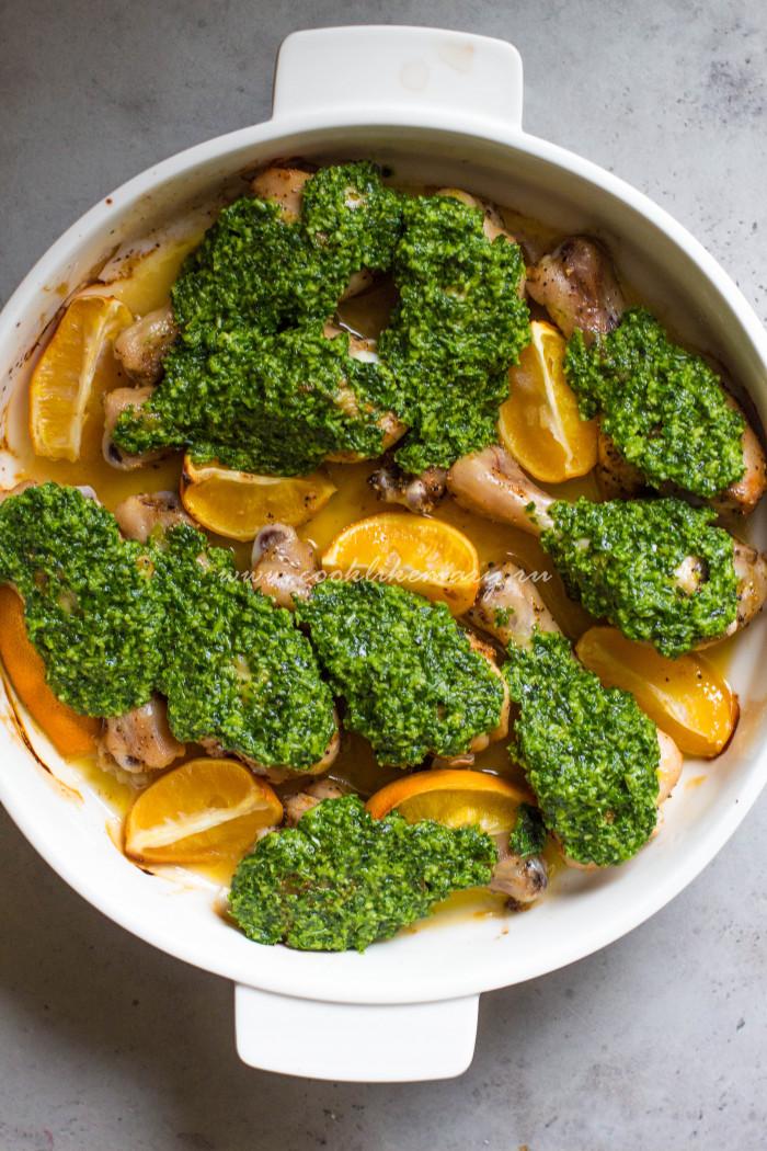 Куриные голени с маринованными лимонами и зеленым маслом