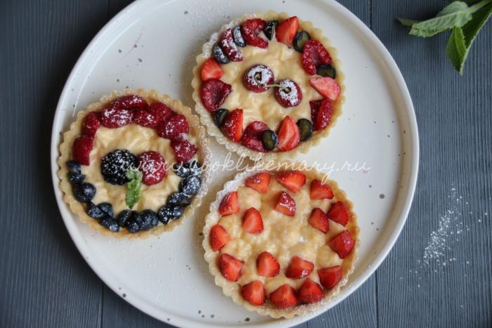 Корзиночки с кремом и ягодами