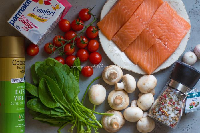 Ингредиенты для форели с овощами