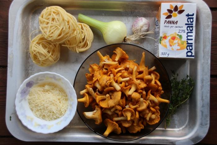 Ингредиенты для феттуччине с грибами