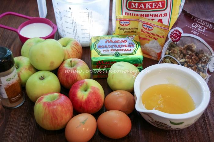 Ингредиенты для пирога с целыми яблоками